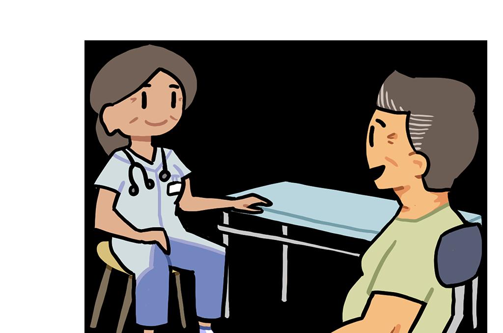 Sygehusdansk - patient og sygeplejerske